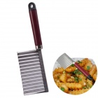 NEJE SD0005-1 Stainless Steel Wavy Blade Potato Cutting Knife - Silver + Red