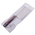 Stainless Steel Wavy Blade Potato Cutting Knife - Silver + Red