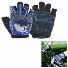 INBIKE Outdoor Cycling Mutation Pattern Breathable Half-Finger Gloves - Blue + Black (L / Pair)