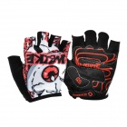 INBIKE Outdoor Cycling Mutation Pattern Breathable Half-Finger Gloves - Red + Black (L / Pair)
