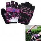 INBIKE Unisex Outdoor Cycling Biking Riding Half-Finger Gloves - Purple + Multi-Colored (XXL / Pair)