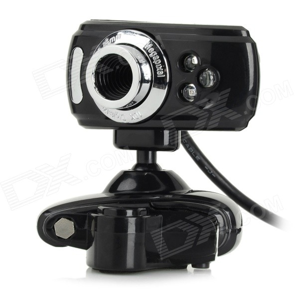 S-What USB 2.0 3-LED 5.0MP Clip Webcam w/ Microphone- Black + Silver