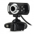 S-What USB 2.0 Wired 3-LED 5.0MP Clip Webcam w/ Microphone- Black + Silver