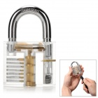 ZH-TMTZ-2 Stainless Steel Lock + Key + 9-Pick Training Tool Set - Transparent + Silver