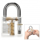 ZH-TMTZ-1 Stainless Steel Lock + Key + Pick Training Tool Set - Transparent + Silver