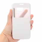 Flip-open PC Case w/ View Window for Samsung Galaxy S6 I9700 - White