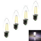 Zweihnder E27 4W LED Filament Candle Bulbs White 6000K 380lm - Transparent (AC 220~240V / 4 PCS)