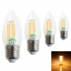 Zweihnder W019 E27 4W LED Filament Candle Bulb Warm White Light 3000K 380lm (AC 220~240V / 4PCS)