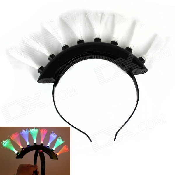 LED Flash Electronic Toys Mohicans Hair Style Headwear - White + Black
