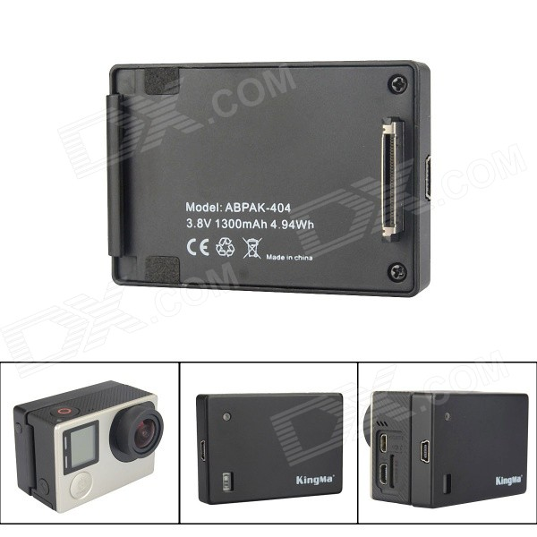 Kingma ABPAK-404 1300mAh batteri for GoPro Hero 2/3/3 + / 4 - svart
