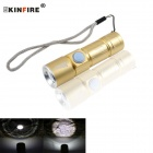 KINFIRE Mini 800mAh Rechargeable 380lm 3-mode Cool White XP-E LED Dimmable Flashlight - Yellow