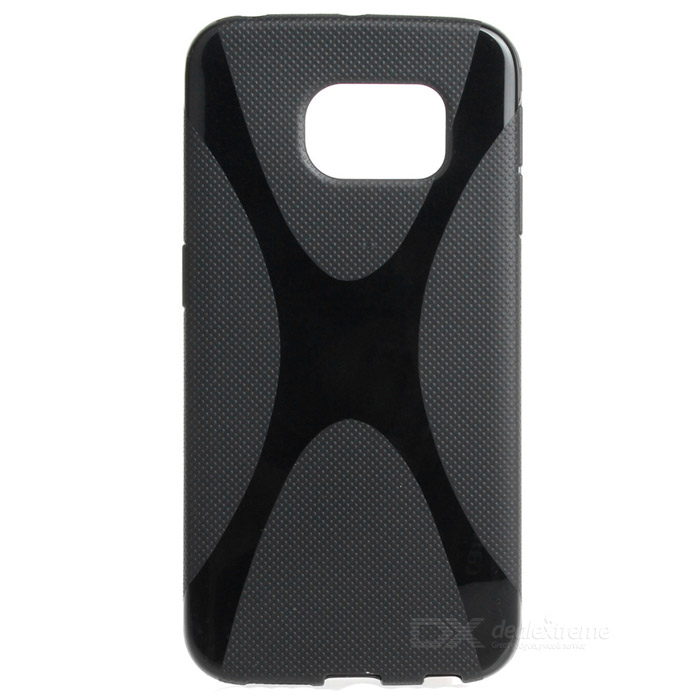 """X"" Pattern Non-Slip TPU Back Case for Samsung Galaxy S6 Edge - Black"