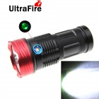 UltraFire XM-L T6 9-LED 8500lm 3-Mode High Power LED Flashlight w/ Power Display - Black + Red