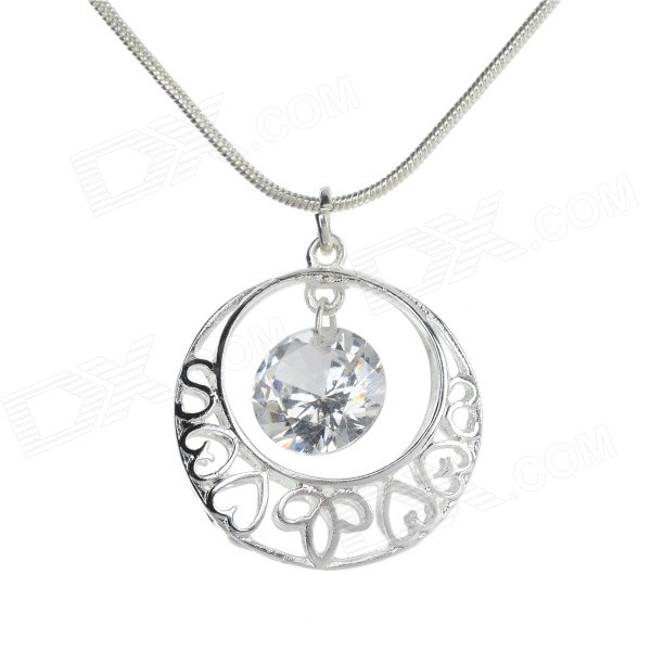 Women's Hollow Out Pendant Necklace - Silve