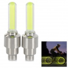 LED Flash Car Tire Valve Lamps - Silver White + Green