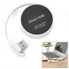 Portable High Speed USB 2.0 4-Port Hub - Black + White