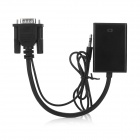 VGA to HDMI HD Adapter Cable w/ 3.5mm Cable + USB Charging Cable - Black