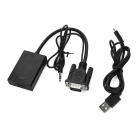 VGA a HDMI HD cable adaptador con cable de 3,5 mm, cable de carga USB - negro