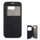 Protective Flip-Open PU + PC Case Cover w/ View Window for Samsung Galaxy S6 - Black