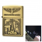 B-0125 Eiffe Tower Pattern USB Powered Windproof Pulsed Arc Lighter - Brass