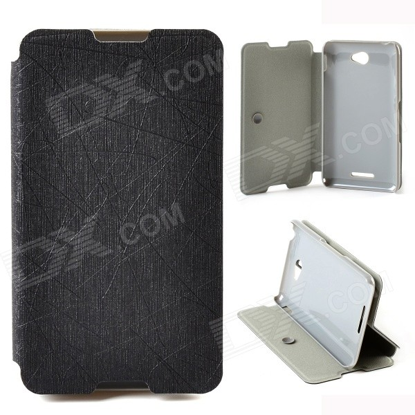 Protective PU Leather + PC Case Cover Stand for Sony Xperia E4 - Black - Free Shipping - DealExtreme