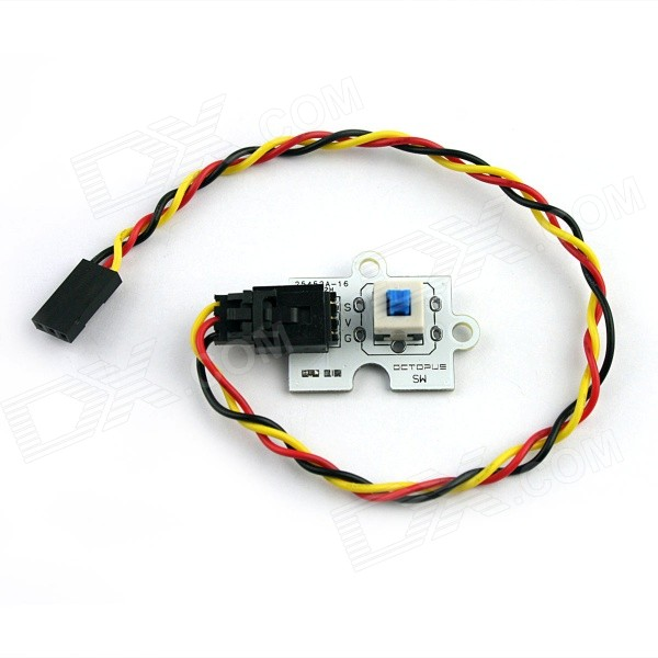Elecfreaks E00104 Octopus Push Self-Lock E-Switch Module for ArduinoSensors<br>Form  ColorWhiteModelE00104Quantity1 pieceMaterialFR4ApplicationThis is a Push Lock module, which detects your press actionWorking Voltage   3.3 / 5 VEnglish Manual / SpecNoDownload Link   N/AOther FeaturesLink for reference: http://www.elecfreaks.com/wiki/index.php?title=Octopus_Push_Lock_E-Switch_Brick; A product for Arduino that works with official Arduino boards.Packing List1 x Brick 1 x Analog sensor (Cable 22cm)<br>