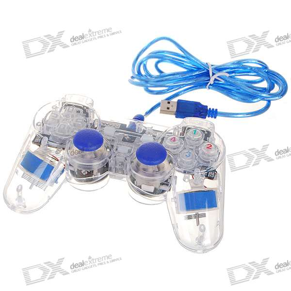 USB 2.0 Mono Shock Gaming Controller with Blue Light Effect for PC
