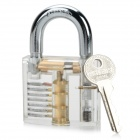 ZH-TMTZ-4 Inside-View Pick Skill Training Practice Padlock Lock for Locksmith - Silver + Transparent