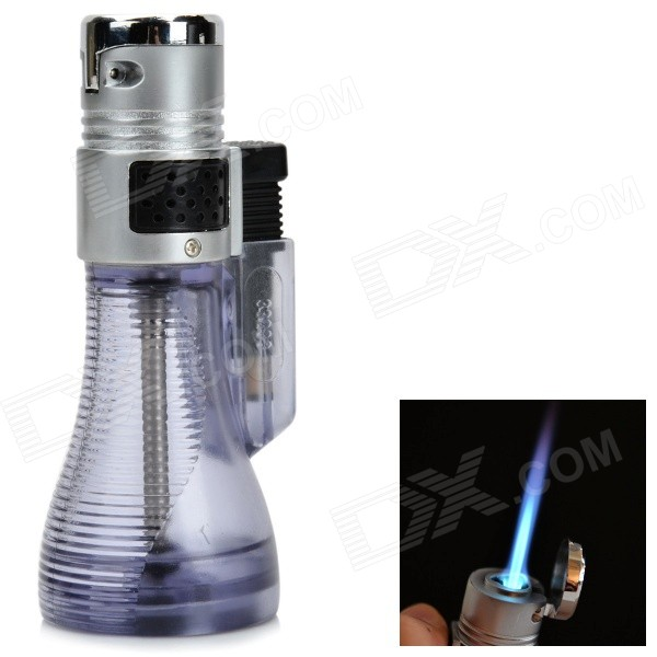 Vase Style Windproof Blue Flame Butane Jet Lighter - Silver + Grey