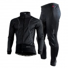 NUCKILY ZH026 Men's Windproof Thermal Fleece Long Cycling Jersey Top + Pants Set - Black (XXL)