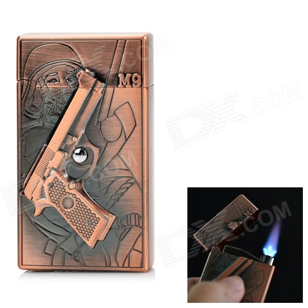 Pistol Relievo Pattern Lighter w/ Electronic Induction Switch - Brass