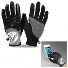 NUCKILY PD01 Women's Ultra-thin Full-Finger Touch Screen Cycling Gloves - Black + Grey (M / Pair)