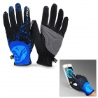 NUCKILY PD01 Women's Ultra-Thin Full-Finger Touch Screen Cycling Gloves - Black + Blue (L / Pair)