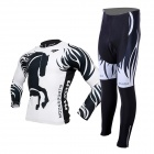 MOON CX-MO15 Men's Long-sleeved Cycling Jersey + Pants Suit - Greyish White + Black (Pair / M)