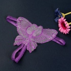 Sexy Hollow-out Bowknot Style Embroidery Open Fork T-Back - Purple