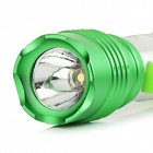 Anti-slip White Light LED Flashlight w/ Clip - Silver + Green (2*AA)