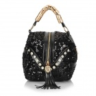 ZEA15-3-5-1 Fashion Women's Sequins Decorated PU Handbag / Shoulder Bag - Black
