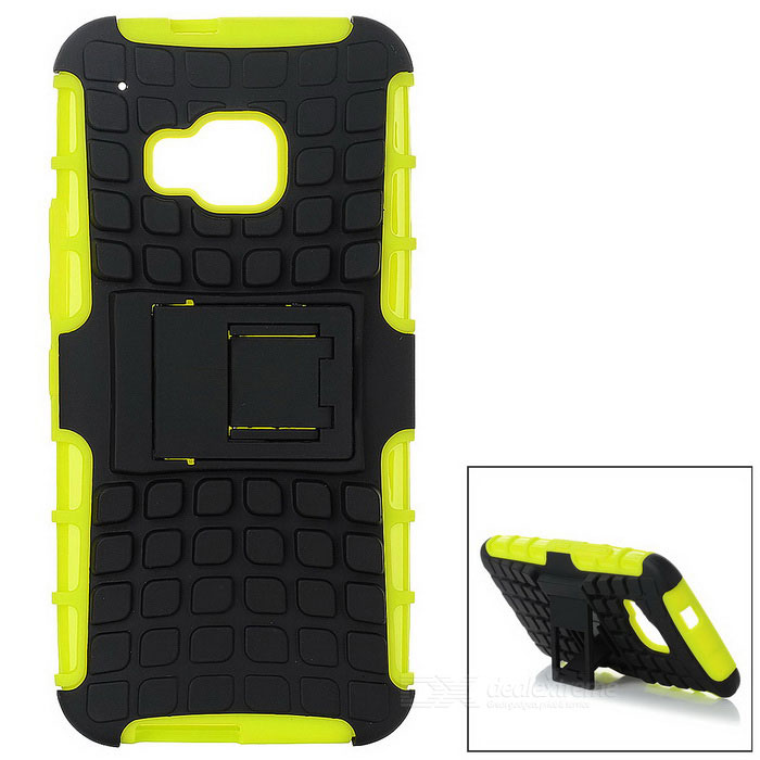TPU Back Case w/ Holder for HTC ONE M9 - Black + Fluorescent Green