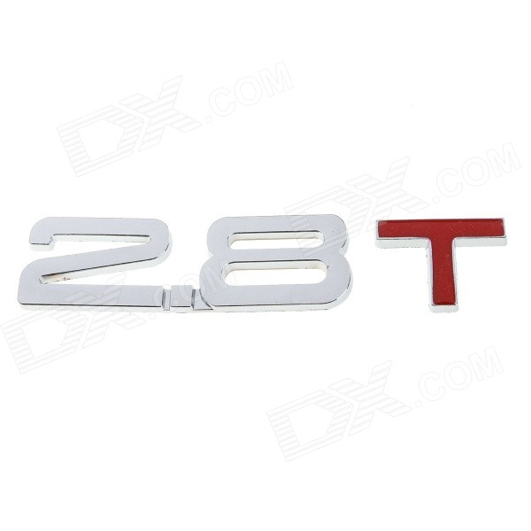 DIY 2.8 T Design Decoration Metal Sticker for Car - Silver + Red