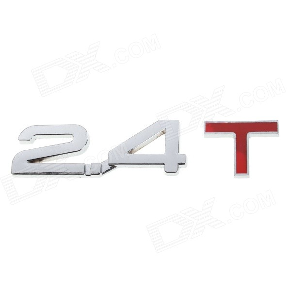 DIY 2.4 T Design Decoration Metal Sticker for Car - Silver + Red