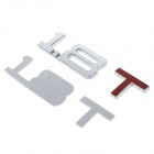 DIY 1.8 T Design Decoration Metal Sticker for Car - Silver + Red