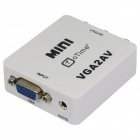 oTime OT-M625 VGA to AV / RCA w/ 3.5mm Jack + Mini USB Audio Adapter - White