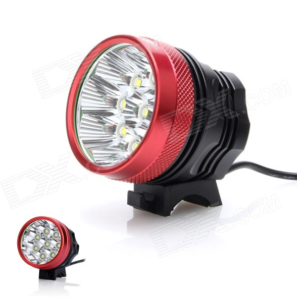 ZHISHUNJIA 4800lm 3-Mode White Light Bicycle Lamp w/ 8*Cree XM-L T6Bike Lights<br>Form ColorBlack + RedModelSHQ-8Quantity1 DX.PCM.Model.AttributeModel.UnitMaterialAluminum alloyEmitter BrandCreeLED TypeXM-LEmitter BINT6Number of Emitters8Color BINNeutral WhiteWorking Voltage   8.4 DX.PCM.Model.AttributeModel.UnitPower Supply6 x 18650Current8 DX.PCM.Model.AttributeModel.UnitTheoretical Lumens5500 DX.PCM.Model.AttributeModel.UnitActual Lumens4800 DX.PCM.Model.AttributeModel.UnitRuntime3 DX.PCM.Model.AttributeModel.UnitNumber of Modes3Mode ArrangementHi,Low,Fast StrobeMode MemoryNoSwitch TypeForward clickyLensGlassReflectorAluminum SmoothFlashlight MountingHandlebar and HelmetSwitch LocationTailcapBeam Range300 DX.PCM.Model.AttributeModel.UnitBike Lamp Interface Size3.5mmBattery Pack Interface Size3.5mmPacking List1 x Bicycle headlamp (80cm-cable)1 x Battery pack (50cm-cable)1 x 2-flat-pin plug power adapter (100~240V / 90cm)2 x Rubber rings<br>