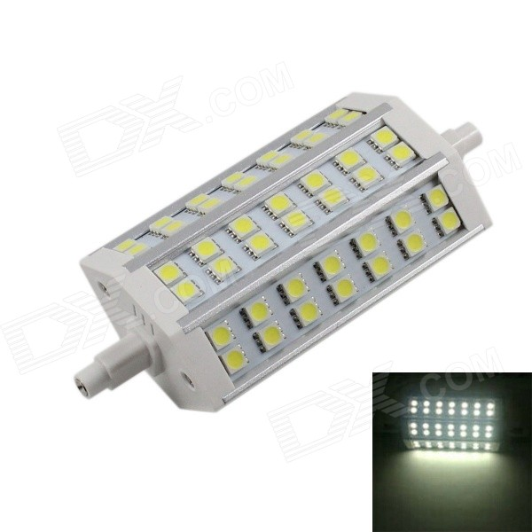 KINFIRE R7S 15W 1200lm 42-5050 SMD Cold White Bulb (AC 90~265V)Form  ColorWhite,??+??Color BINCold WhiteModelR7SMaterialAluminium alloyQuantity1 DX.PCM.Model.AttributeModel.UnitPowerOthers,15WRated VoltageOthers,AC 90-265V DX.PCM.Model.AttributeModel.UnitConnector TypeOthers,R7SChip BrandOthers,N/AChip TypeLEDEmitter Type5050 SMD LEDTotal Emitters42Theoretical Lumens1300 DX.PCM.Model.AttributeModel.UnitActual Lumens1200 DX.PCM.Model.AttributeModel.UnitColor Temperature6000KDimmableNoBeam Angle120 DX.PCM.Model.AttributeModel.UnitWavelengthN/APacking List1 x Corn lamp<br>