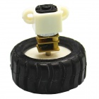 DIY DC 6.0V 110RPM Gear Motor with Mounting Bracket Rubber Tire - Black