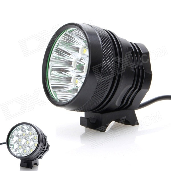 ZHISHUNJIA SHQ-9 5400lm 3-Mode White Bicycle Light w/ 9-LED XM-L T6Bike Lights<br>Form ColorBlackModelSHQ-9Quantity1 DX.PCM.Model.AttributeModel.UnitMaterialAluminum alloyEmitter BrandOthers,N/ALED TypeXM-LEmitter BINT6Number of Emitters9Color BINNeutral WhiteWorking Voltage   8.4 DX.PCM.Model.AttributeModel.UnitPower Supply6 x 18650 (included)Current8 DX.PCM.Model.AttributeModel.UnitTheoretical Lumens6000 DX.PCM.Model.AttributeModel.UnitActual Lumens5400 DX.PCM.Model.AttributeModel.UnitRuntime3 DX.PCM.Model.AttributeModel.UnitNumber of Modes3Mode ArrangementHi,Low,Fast StrobeMode MemoryNoSwitch TypeForward clickyLensGlassReflectorAluminum SmoothFlashlight MountingHandlebar and HelmetSwitch LocationTailcapBeam Range300 DX.PCM.Model.AttributeModel.UnitBike Lamp Interface Size3.5mmBattery Pack Interface Size3.5mmPacking List1 x Bicycle headlamp (80cm-cable) 1 x Battery pack (50cm-cable) 1 x 2-flat-pin plug power adapter (100~240V / 90cm) 2 x Rubber rings<br>