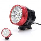 ZHISHUNJIA 5400lm 3-Mode White Bicycle Light w/ 9-LED XM-L T6 - Black + Red (6 x 18650)