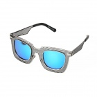 S963 UV400 Protection Metal Mesh Openwork Wide-Leg Alloy Frame PC Blue REVO Lens Sunglasses