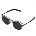 S973 Fashionable UV400 Protection PC Lens Sunglasses w/ Metal Fasteners - Black + White + Grey