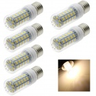 HONSCO E27 6W LED Corn Lamp Bulb Warm White Light 3500K 320lm 48-SMD 5730 - White (AC 220V / 6 PCS)